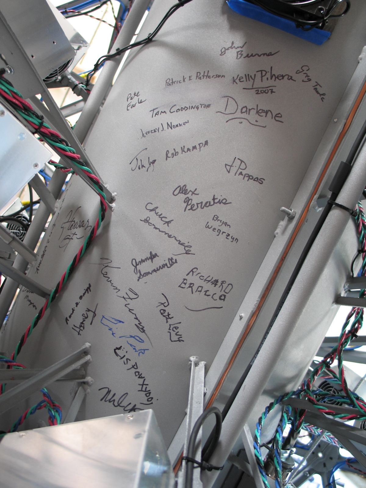 Signatures on the column (inside the ball)