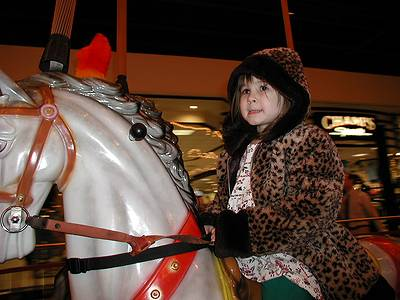 Mariel on the merry-go-round in Plymouth Meeting Mall