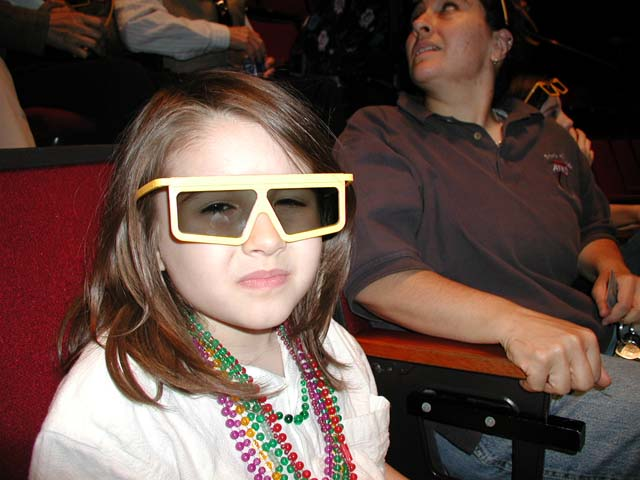 Mariel watches a 3d movie