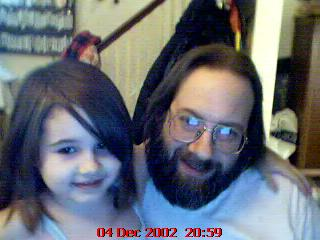 Mariel and Dad on the webcam